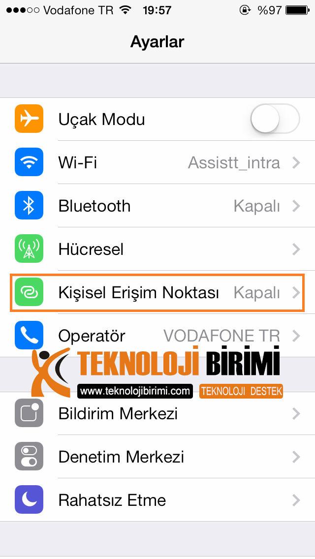 İos7 modem olarak kullan