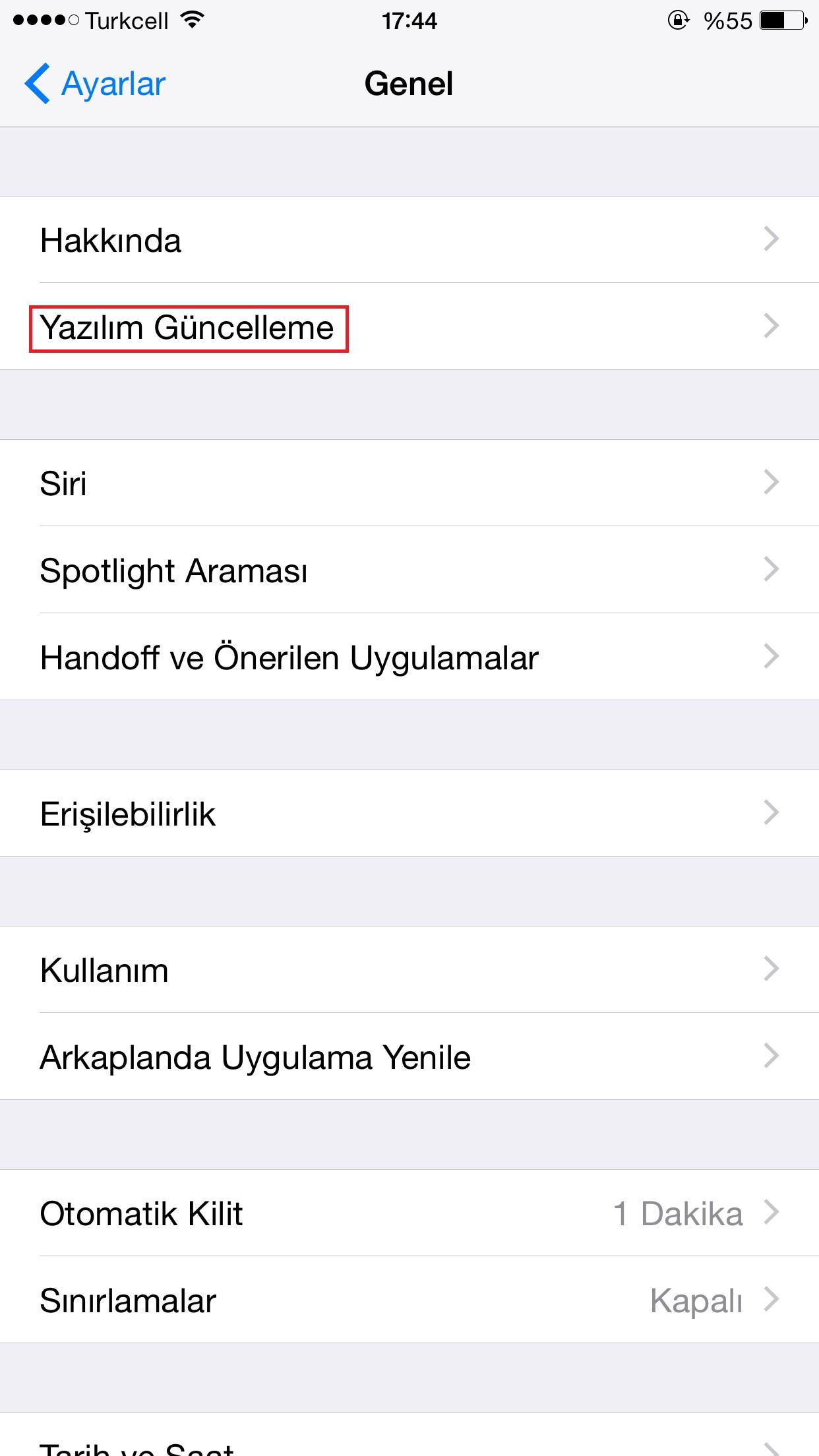 iphone yazılım güncelleme resimli anlatım